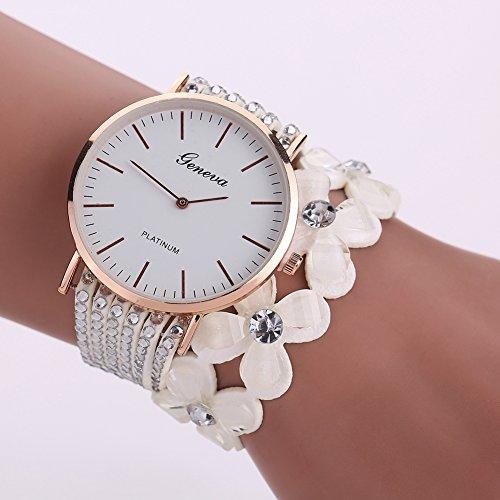 La Cabina Femme Fille Vintage Montre Bracelet Luxueuse en Alliage & Reinstones Montre pour Robe Soirée Cocktail (Blanc)