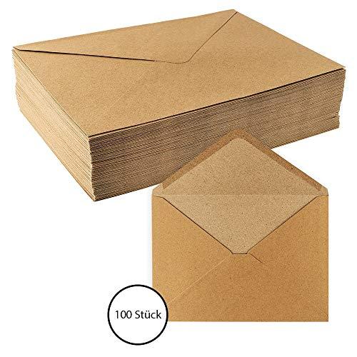 Sobres de papel de estraza, 100 unidades, alta calidad: 110 g/m2, sobres, sobres, sobres para tarjetas de felicitación, invitación, tarjetas de cumpleaños DIN C5 | 16,2 x 22,9 cm