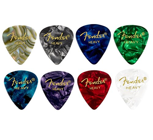 Fender 【8色アソート】 8枚(各色1枚)ティアドロップ HEAVY ギター ピック…