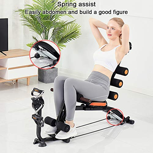 Abdominal Trainers, Multi-Function Sit Up Bench Adjustable Workout Bench Fitness Equipment Twisting Machine Stepper Spinning Bike Elliptical Trainers (Black)