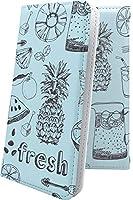 BREEZ X5 ケース 手帳型 ハワイアン ハワイ 夏 海 パイナップル コヴィア ブリーズ ユニーク おもしろ おもしろケース BREEZX5 かっこいい 11189-1-10000880-BREEZX5