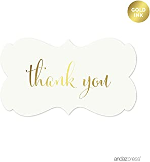 Andaz Press Fancy Frame Rectangular Label Stickers, Thank You, Metallic Gold Ink, 36-Pack