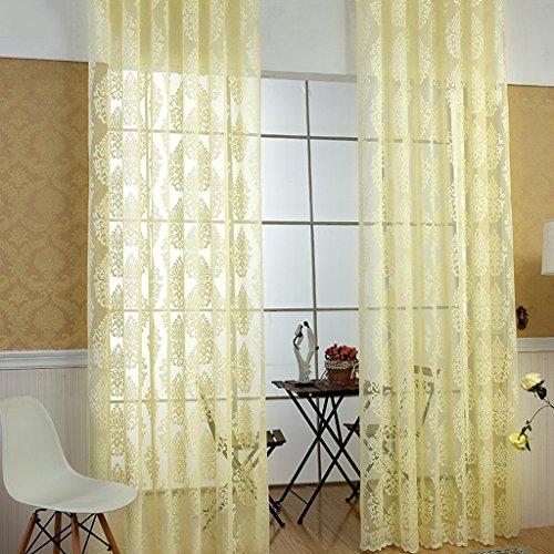 Rideaux Met Love Jaune Polyester Chaîne À Tricoter Haut de Gamme Accueil Fenêtre Tissu d'art Salon Chambre Studio Dédié Balcon Baie Fenêtre 2 Panneaux (Taille : L:2.0*H:2.7m)