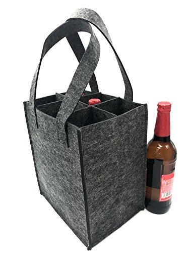 iZoeL Flaschentasche Flaschenträger Bierträger Filztasche mit Seperate Trennwand für 6/9/4 Flaschen perfekt für Piknik Reise Party (für 6 Flaschen)