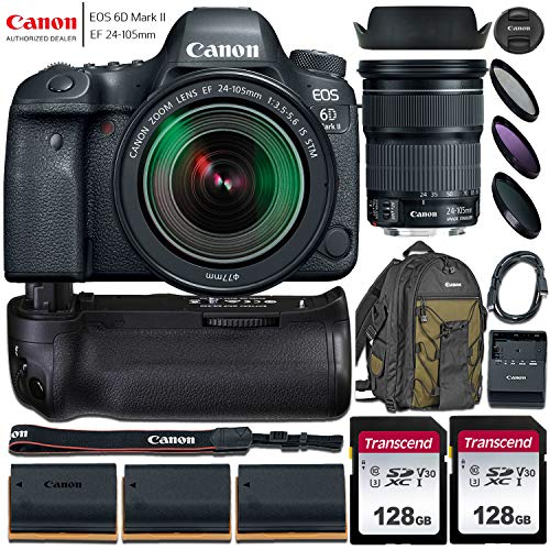 Canon EOS 6D Mark II DSLR Camera with 24-105mm f/3.5-5.6 STM Lens + Accessory Bundle incl. Battery Grip, Canon Backpack, 2X 128GB Memory Card, 2X Replacement Batteries & More