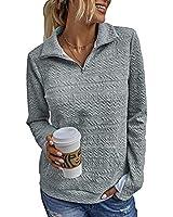 SEBOWEL Women Zipper Pullover Sweatshirt Plain Long Sleeve Quilted Blouse Shirts Lightweight Pullover Jacket, Light Gray, XXL