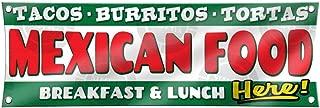 Mexican Food Banner Lunch Breakfast Tacos Burritos Tortas (3ft X 9ft) Vinyl Sign Poster Restaurant Supermarket Full-Color Display