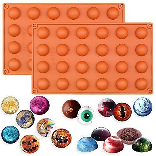 Lot de 2 moules Musykrafties - En silicone - Formes de demi-sphères - Pour petits gâteaux, Silicone, aléatoire, Mini