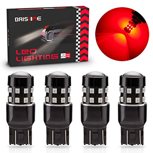 BRISHINE 4-Pack Super Bright 7443 7440 7444 992 T20 LED Bulbs Brilliant Red 9-30V Non-Polarity 24-SMD LED Chipsets with Projector for Brake Tail Lights, Turn Signal Lights