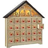 WeRChristmas–Figuras de belén (Calendario de adviento de Navidad, Madera, Multicolor, 36cm