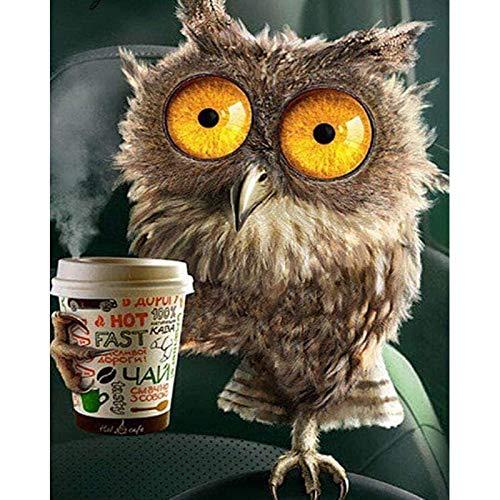 Dovance Full Square Drill 5D DIY Diamantmalerei Cute Owl Drink Coffee 3D Stickerei Kunst Kreuzstich Mosaik Dekor Geschenk KBL (Quadrat 40x50cm)