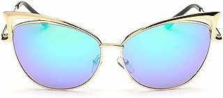 LUKEEXIN Women's Cat Eye Style Metal Frame Sunglasses Lady Glasses (Color : Green)