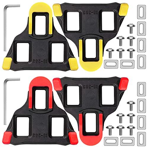 2 Pares de calas de Bicicleta compatibles con Pedales Cubierta de Goma Zapatillas de Ciclismo Pedales autoblocantes Bicicleta para Mujeres y Hombres para Bicicleta de Carretera (Amarillo/Rojo)