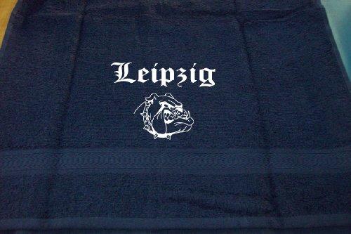 Leipzig (mit Bulldogge); Städte Badetuch, dunkelblau