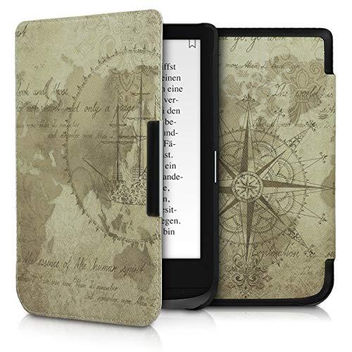 kwmobile Étui liseuse Compatible avec Pocketbook Touch Lux 4/Lux 5/Touch HD 3/Color (2020) - Housse avec Rabat magnétique en Simili Cuir - mappemonde Vintage Marron-Marron Clair