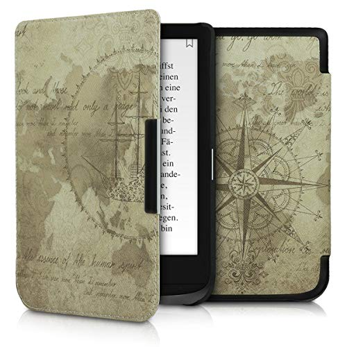 kwmobile Funda Compatible con Pocketbook Touch Lux 4/Basic Lux 2/Touch HD 3 - para eReader - mapamundi Vintage