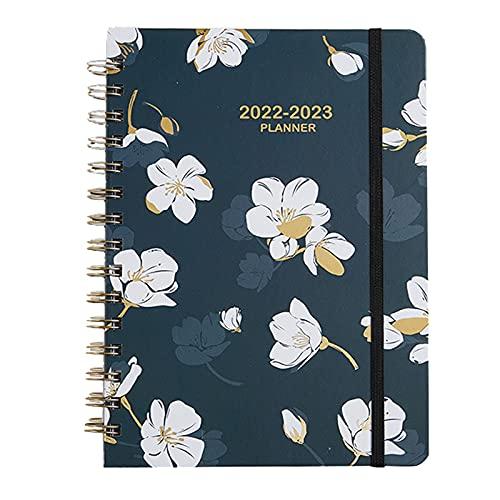 Cuaderno de notas Calendario de enero a diciembre de 2022 bncuaderno de organización de agenda de reuniones de 6.1 pulgadas * 8.5 pulgadas con etiqueta y cuaderno de bobina A5 de tapa blanda flexible