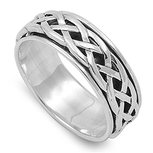 Spinner Men's Wedding Celtic Weave Ring New .925 Sterling Silver Band Size 10