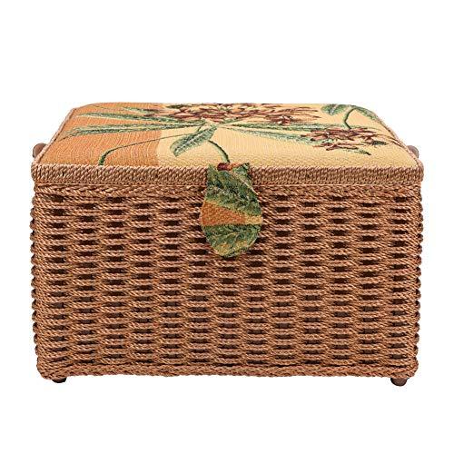 Caja de almacenamiento de costura grande con tapa, organizador, kit de costura, cesta de costura duradera, marco de madera para el hogar, almacenamiento de manualidades, bordado, acolchado
