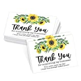 25 Sunflower Thank You Cards for Small Business, We Appreciate You Supporting My Business Customer Appreciation Note Cards, Mini Thanks You Made My Day Yellow Floral Purchase Order Inserts, 3.5x5 inch