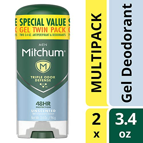 Mitchum Antiperspirant Deodorant Stick for Men, Triple Odor Defense Gel, 48 Hr Protection, Dermatologist Tested, Alcohol Free, Unscented, 3.4 oz (pack of 2)