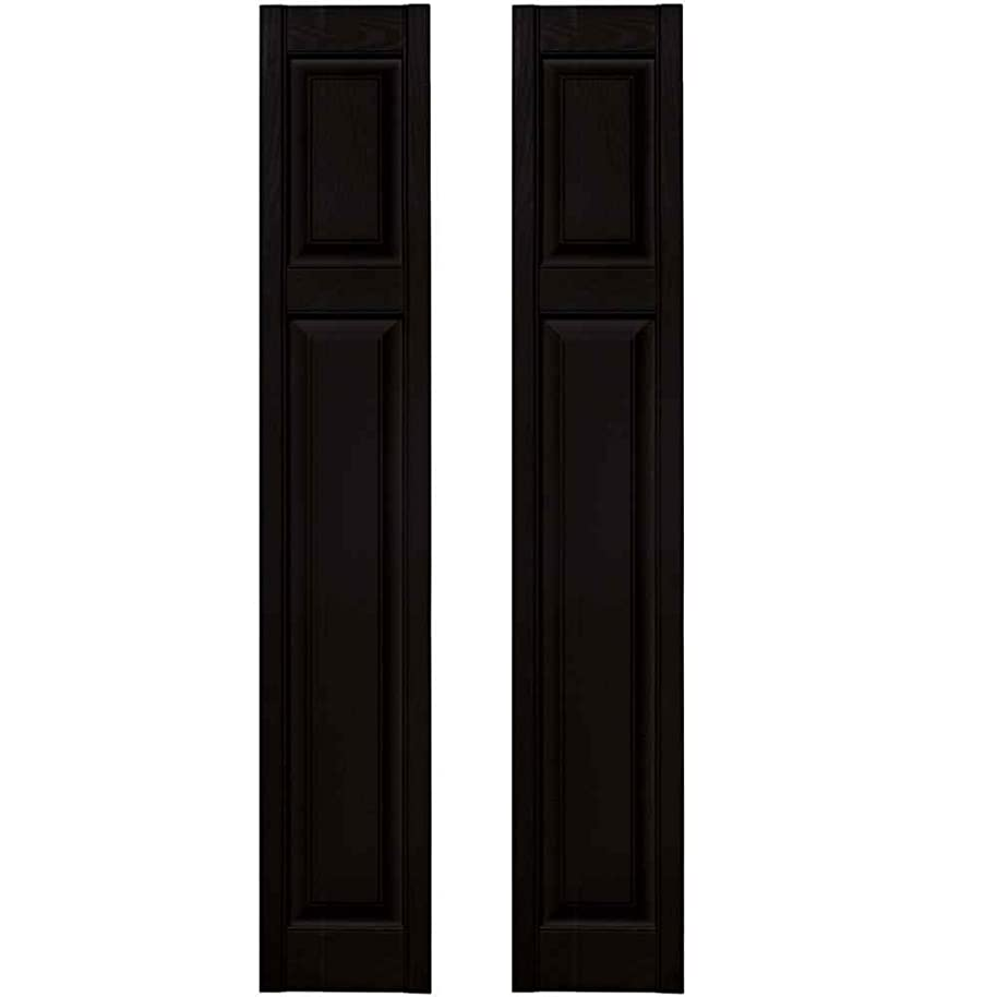 Builders Edge 15 in. x 67 in. Cottage Style Raised Panel Shutters Pair #002 Black