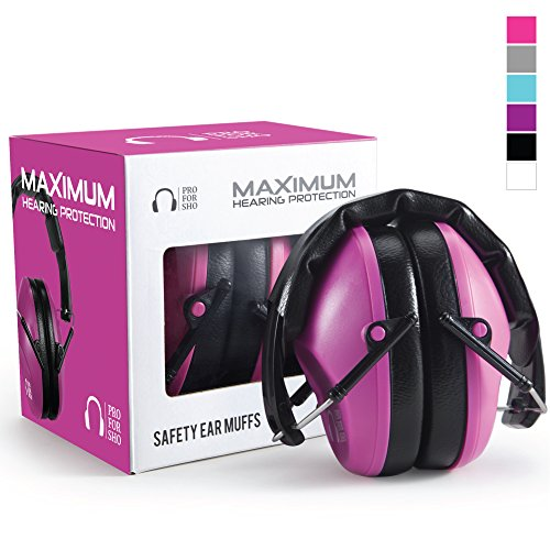 Pro For Sho 34dB Shooting Ear Protection - Special Designed Ear Muffs Lighter Weight & Maximum Hearing Protection - Standard Size, Pink