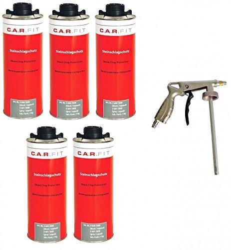 Autolack 5X CARFIT Unterbodenschutz/Steinschlagschutz schwarz + Pistole