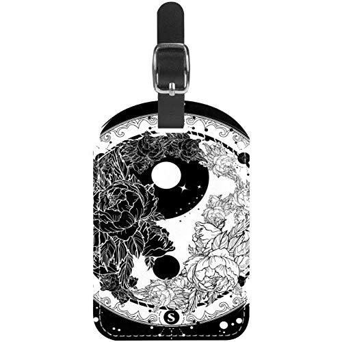 TIZORAX Etiquetas de equipaje Yin and Yang tatuaje arte meditación floral rosas...