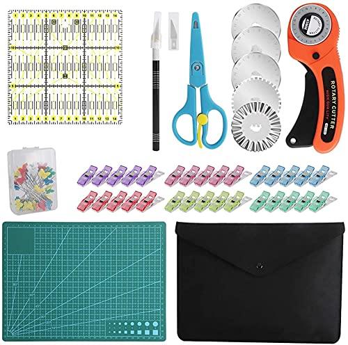 96 PCS Kit de cortador giratorio, conjunto de cortadores de tela de 45 mm con 5 cuchillas, estera de corte, regla de remiendo, cuchillo de tallado, tijeras, bolsa de almacenamiento, clips de costura,