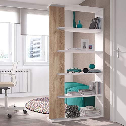 MarinelliGroup Libreria scaffale Multiuso Rovere/Bianco con Ripiani 90 X 25 X 180 cm Salone Studio Camera - OF2252A