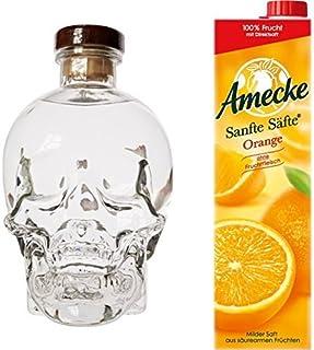Crystal Head Wodka 1 x 0.7 l mit Amecke Sanfte Säfte Orange, 6er Pack 6 x 1 l
