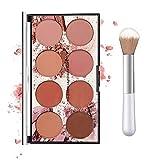Ownest 8 Colors Blush Palette,Lightweight Blush Palette Matte Blush Powder Bright Shimmer Face Blush,Contour and Highlight Blush Palette, with A Blush Brush