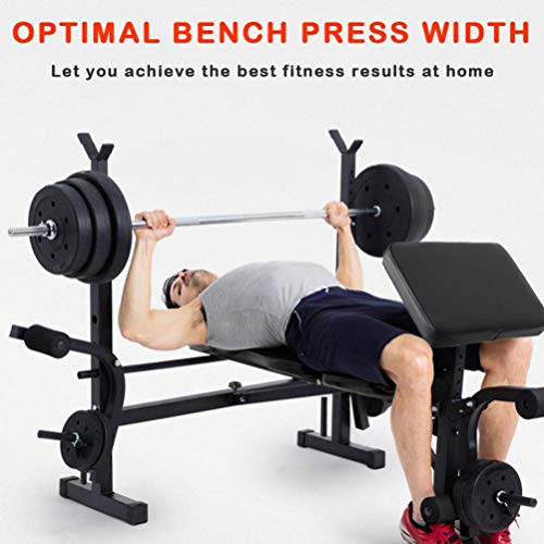XINQITE Olympic Weight Bench, Multifunctional Workout Station Adjustable Dumbbell Bench Weightlifting Bed with Preacher Curl Leg Developer and Crunch Handle