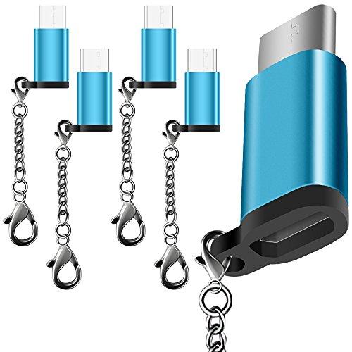 AFUNTA 5 Pack USB Typ C Adapter, USB C zu Micro USB Convert Connector Schnelle Ladegerät mit Schlüsselanhänger für Samsung Galaxy S8 Neue MacBook Pixel XL Nexus 5X 6P-Blau