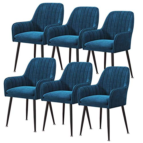 6Pcs Dining Chairs Velvet Armchairs with Backrest Armrest Steel Legs Upholstered Modern Tub Chairs for Counter Lounge Living Room Corner Chair (Color : Navy Blue)