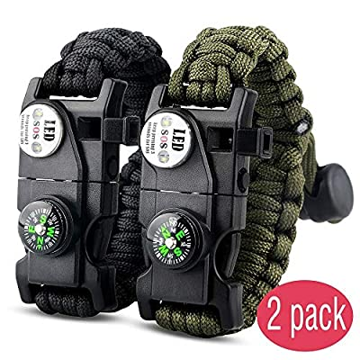 IMPHOM Survival Bracelet Paracord Military Buckle Tool Adjustable Rope Accessories Kit, Fire Starter, Knife, Compass, LED Light,Whistle,for Fishing Hiking Travel Camp(2pcs) from IMPHOM