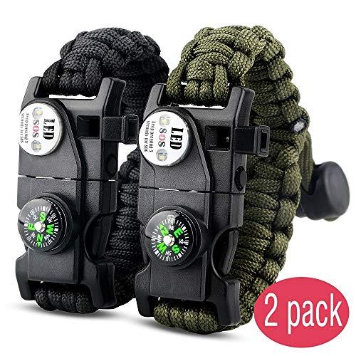 IMPHOM Survival Bracelet Paracord Military Bracelet Buckle Tool Adjustable Rope Accessories Kit, Fire Starter, Knife, Compass, LED Light,Whistle,for Fishing Hiking Travel Camp(2pcs) Black+Green