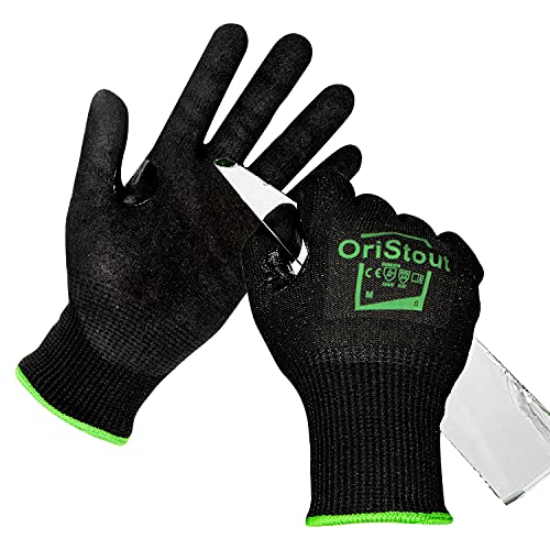 OriStout Cut Resistant Gloves Level 6, Touchscreen, Nitrile Coated Black Work Gloves with Grip, for Metal Detecting, HVAC, Glass Handling, Gardening, Construction, Warehouse Medium, Size 8
