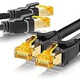 SEBSON 2X Cable de Red Ethernet 2m Cat 8, LAN Patch Cable, 40Gbps, S-FTP apantallado, Conector RJ45 para Router, Ordenador, Módem, TV