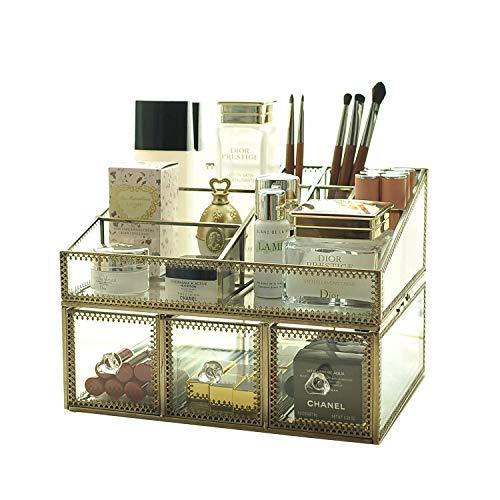Yxsd Verre transparent et bijoux de BrassMetal cosmétique de stockage de maquillage de l'organisateur Top Dresser Grand écran (2 tiroirs) Top+3 Drawer