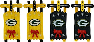 Yellow/Green Mini-sled Christmas Ornaments for Football Fans
