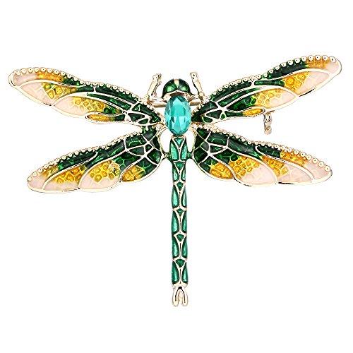 Ever Faith Mujer Broches Forma de Animal libélula Diseño Elegante para Regalo Novia Boda Fiesta Noche Verde