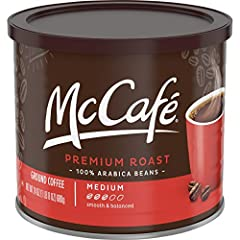 One 24 oz. can of McCafe Premium Roast Medium Ground Coffee McCafe Premium Roast Medium Ground Coffee lets you enjoy the McCafe experience at home or at work Medium roast caffeinated coffee delivers a balanced flavor, rich aroma and smooth body Great...