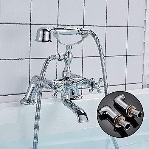 FGVBC Badewannenarmatur mit Messinggriff Dusche Doppelgriff Dual Control Badarmatur Deckmontage Heiß- und Kaltwassermischbatterien
