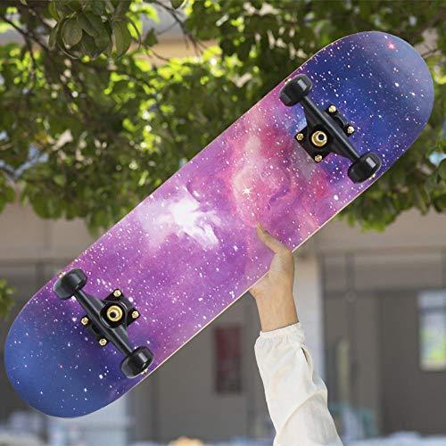 QAZXS Professionelle vierrädrige Skateboard Erwachsene Anfänger Jungen und Mädchen bürsten Street Board Kinder und Jugendliche doppelt verzogene Short Board Scooter-Lila Sternenhimmel