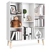 Librería Estantería Blanca Estante de Exhibición Mueble Decorativo con 8 Cubos para Salón Nórdico 80X29.5X93cm