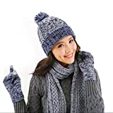 DTBG Knitted Beanie Gloves & Scarf Winter Set Warm Thick Fashion Hat Mittens 3 in 1 Cold Weather for Women Blue