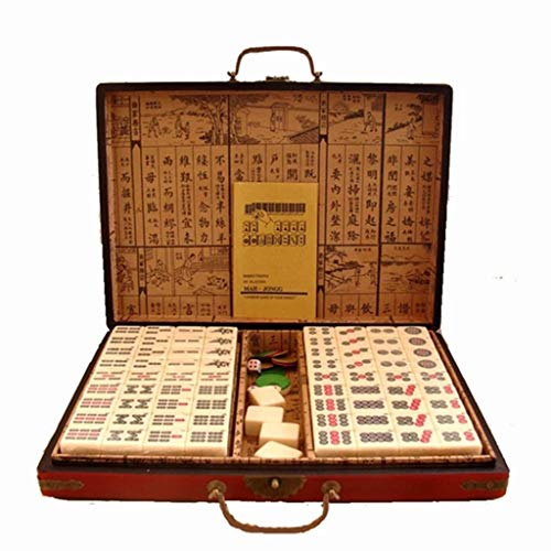 Chinese Mahjong American Mahjong Antique Mah Jong Game Set Tile Games Board Game Entertainment Best Gift for Mahjong Lover with English Manual Suitable for Beginners
