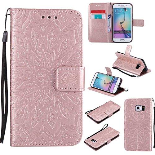 KKEIKO Cover Galaxy S6 Edge, Magnetico Portafoglio Custodia in PU Pelle, Fiore del Sole Design Antiurto Cover per Samsung Galaxy S6 Edge - Oro Rosa